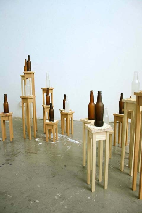 Ashley V. Blalock Other Sculpture and Installation Bottles, pine, doilies