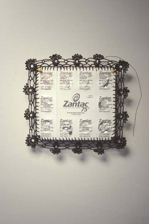 Ashley V. Blalock Other Sculpture and Installation Zantac packaging, thread