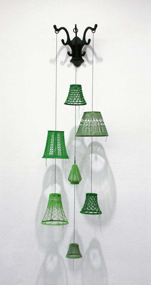 Ashley V. Blalock Arsenic Green Crochet thread, lampshade frames, wood