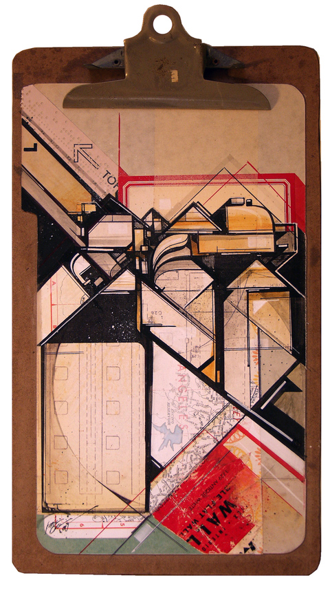 Augustine Kofie Found Clipboards Pressboards, found paper, ball point pen,  acrylic ink and glue on hardboard masonite clipboard.