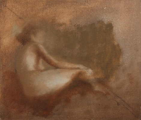 Avital Burg Figure Oil on Linen Mounted on Wood