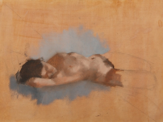 Avital Burg Figure Oil on Paper Mounted on Wood