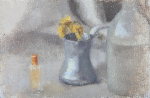Avital Burg Still Life and Interior Oil on Linen Mounted on Wood