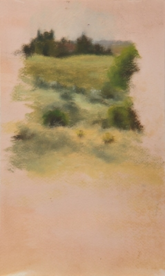 Avital Burg Landscape Oil on Paper Mounted on Wood