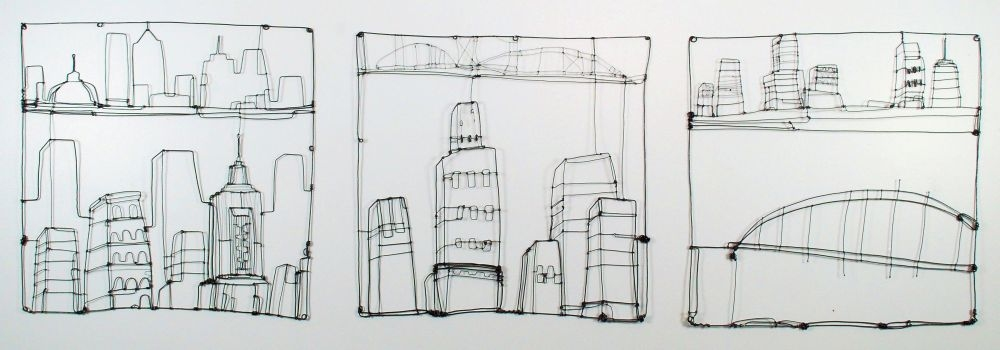 Wire Drawings Cityscape (wire drawing triptych)