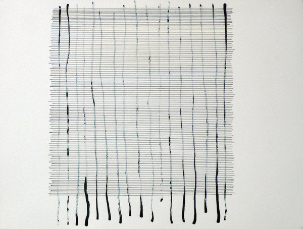 Barbara Hatfield lines and grids watercolor and graphite on paper
