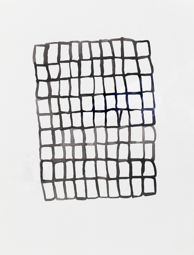 Barbara Hatfield lines and grids watercolor on paper