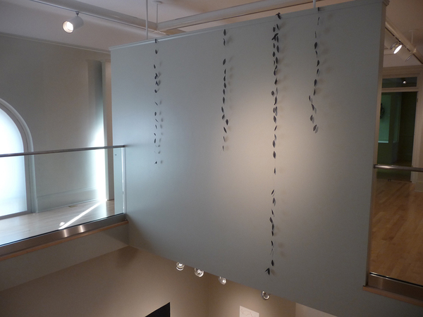 Barbara Hatfield  wall drawings copper wire and fabric