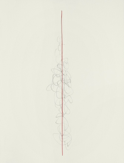 Barbara Hatfield with red wire graphite and copper wire on paper