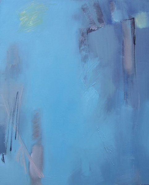 "Samois/blue, 2003, oil on canvas, 16"" x 24"""