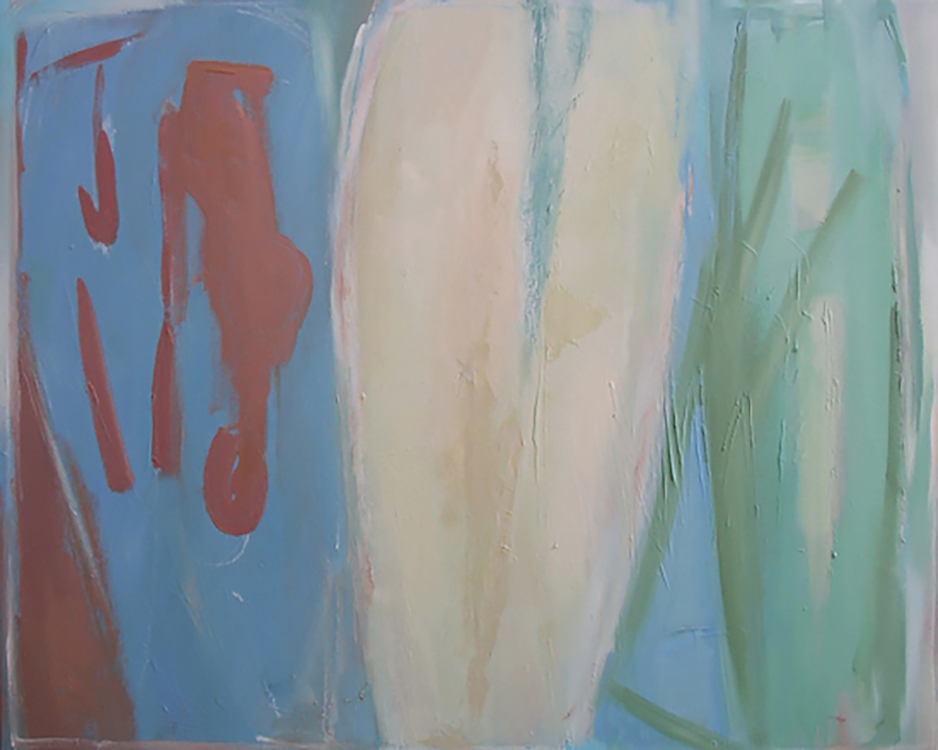 "Selected early works Life x 3, 2002, oil on canvas, 36"" x 48"""