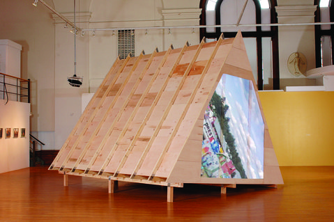 "Barbara Gallucci Sculpture and Installation 2""x4""s plywood and video projections"