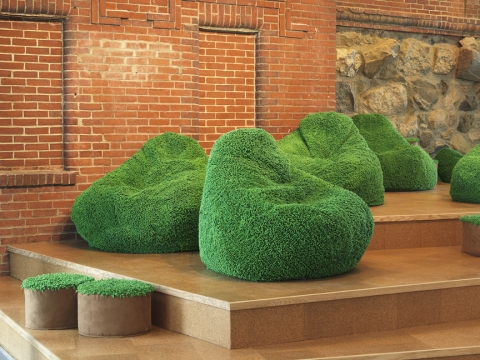 Barbara Gallucci Sculpture and Installation shag chenille beanbags, wood platforms, cork tile