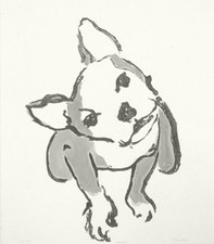 Barbara Lubliner Dog, Dog, Cat! sumi-e painting