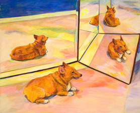 Barbara Lubliner Dog, Dog, Cat! oil on linen