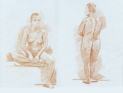 Charles Basman  Figure drawings Red chalk