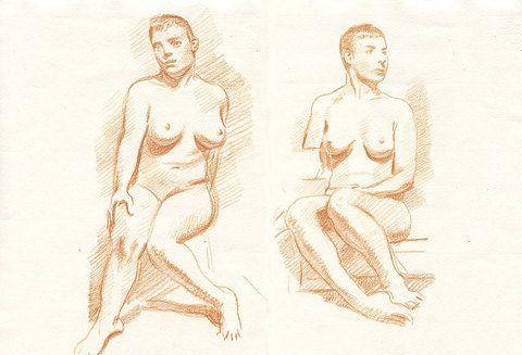 Charles Basman  Figure drawings Red and white chalk