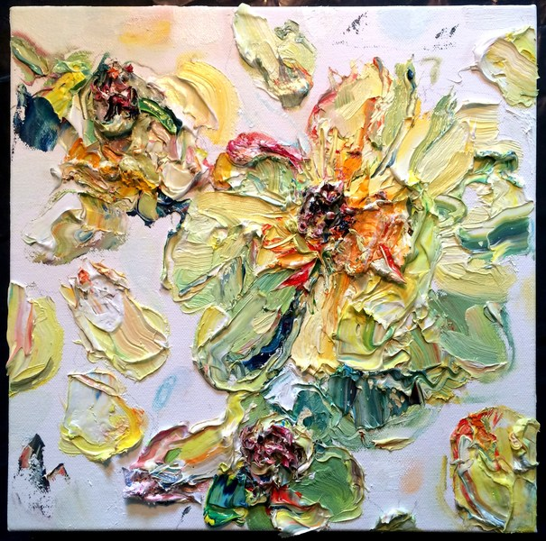 "Big Sky Studio Works, and Plein Air Abstractions ""Letting Go, Yellow Peony"""