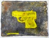 Water Pistols, Cap Guns, and Targets encaustic on handmade rag paper