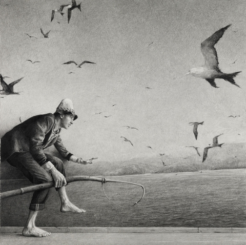 BIG PAPER AIRPLANE - ETHAN MURROW PARIS - Momentum graphite on paper