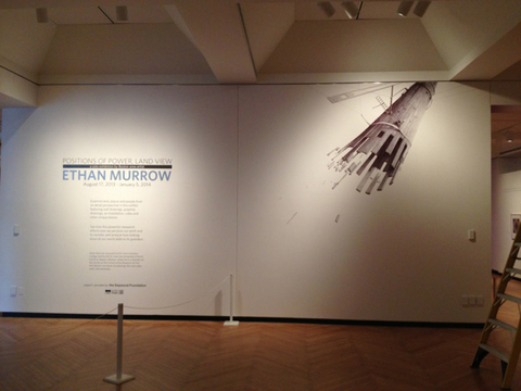 BIG PAPER AIRPLANE - ETHAN MURROW Wall Drawings at the Clay Center ballpoint pen