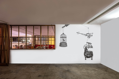 BIG PAPER AIRPLANE - ETHAN MURROW NOW - HONG KONG acrylic pen on wall - site specific