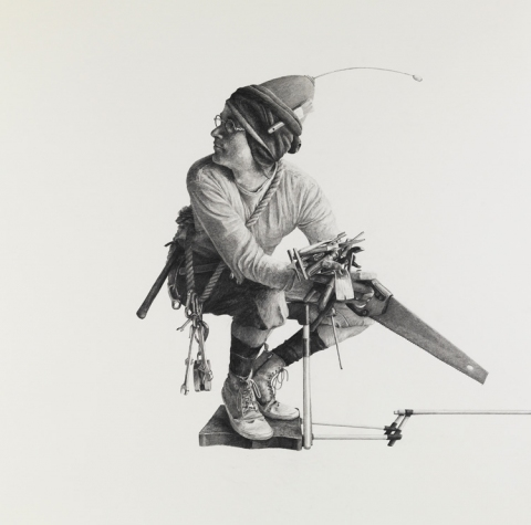 BIG PAPER AIRPLANE - ETHAN MURROW L.A. - Myths graphite on paper