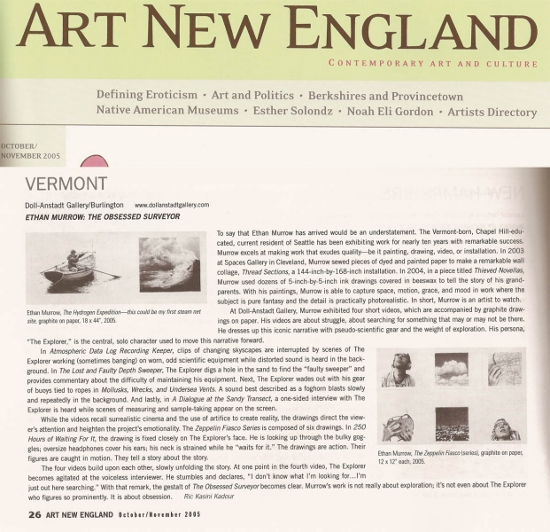 "REVIEWS Art New England review by Ric Kasini Kadour of the show ""The obsessed Surveyor"""