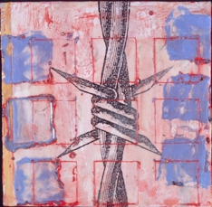untitled-barbed wire series-blue squares