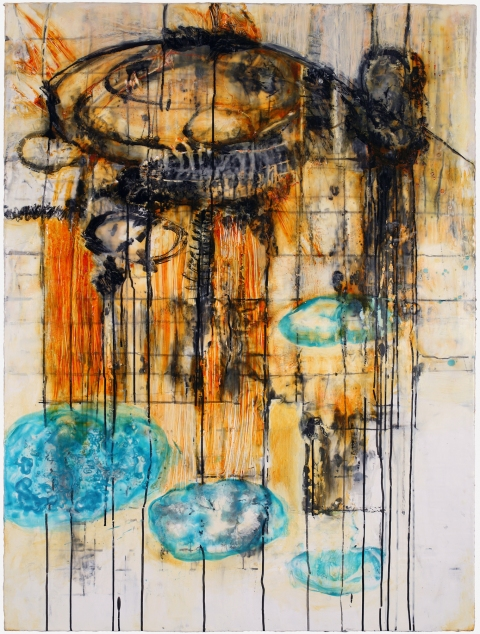 BINNIE BIRSTEIN what lies beneath encaustic, india ink, graphite, oil stick on birch panel