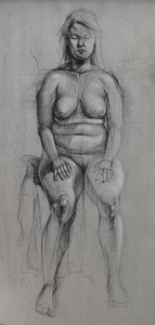 Bob Langnas Some Observational Work charcoal, white conte