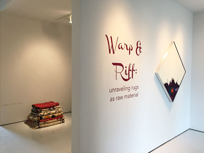 "Warp & Riff: Unraveling Rugs as Raw Material, 2015 Installation View: ""Warp & Riff: Unraveling Rugs as Raw Material,"" McClain Gallery, 2015"
