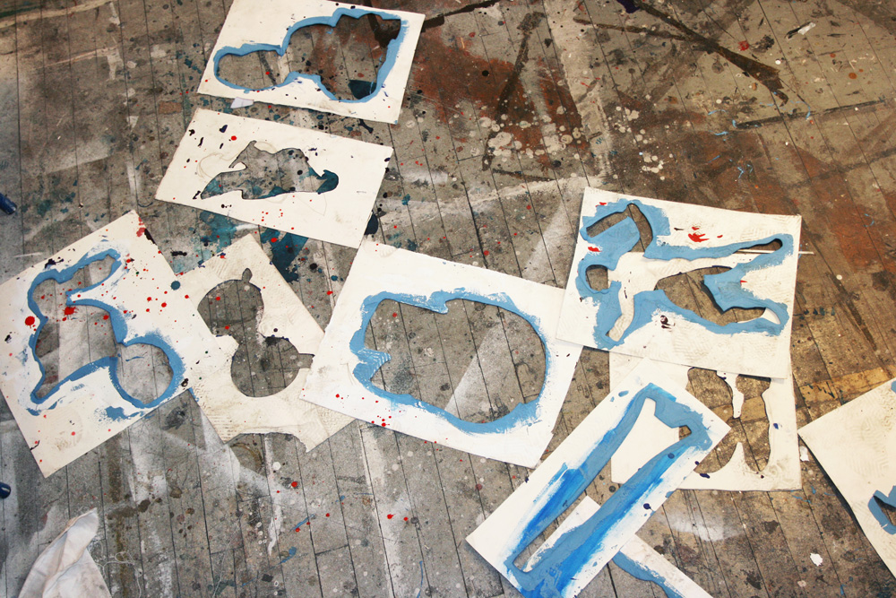 Stencils on Bo Joseph studio floor<br/>