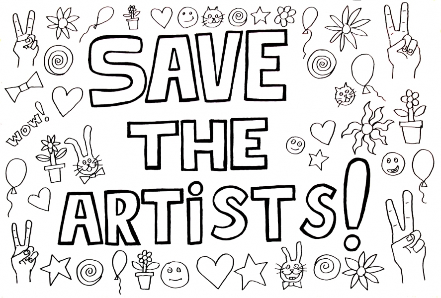 "HAPPY ART HISTORY!  ""SAVE THE ARTISTS!"" COLORING PAGE (TALKING CANVASES)"