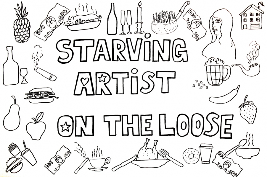 "HAPPY ART HISTORY!  ""STARVING ARTIST ON THE LOOSE."" COLORING PAGE (TALKING CANVASES)"