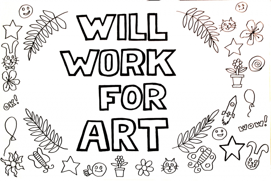 "HAPPY ART HISTORY!  ""WILL WORK FOR ART."" COLORING PAGE (TALKING CANVASES)"