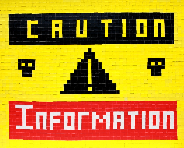 "I  SURVIVED INFORMATION  "" CAUTION : INFORMATION ! ""."