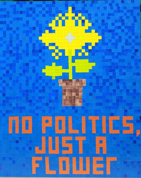"I  SURVIVED INFORMATION "" NO POLITICS, JUST A FLOWER""."
