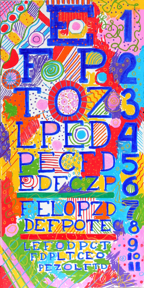 "GLAMOUR SANDPAPER  Cute Vision Chart 7. 12''x24"". Oil Markers, Permanent Markers on Canvas Board. 2015"