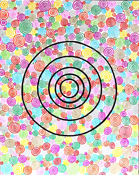 "GLAMOUR SANDPAPER  Cute Target 3. 18''x24"". Oil Markers, Permanent Markers on Canvas Board. 2015"