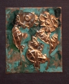 HAPPY ART HISTORY!  ACIDS PAINTING ON COPPER REPOUSSE .HEAVY PATINA.