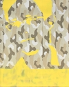 I  SURVIVED INFORMATION Highlight Yellow Spraypaint on Vinyl Camouflage on Wooden Frame.
