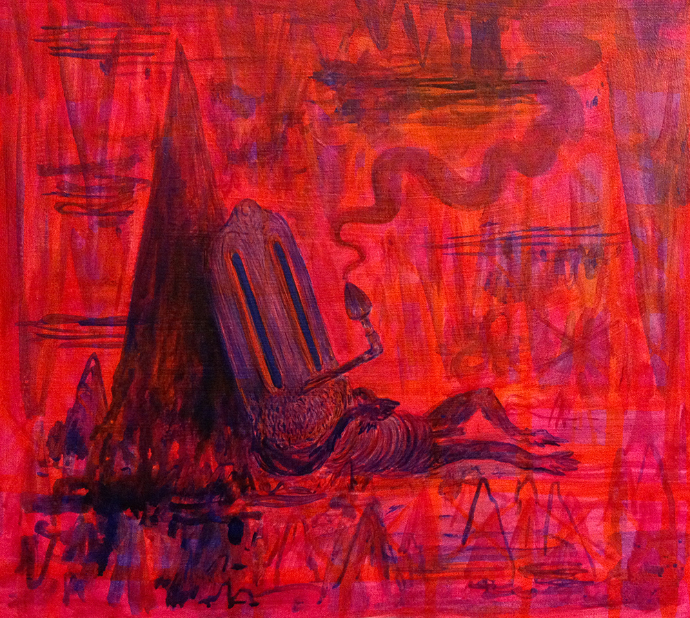 Branden Koch homeless domestic, caves, swamps, frogs, and timekeeps acrylic/canvas