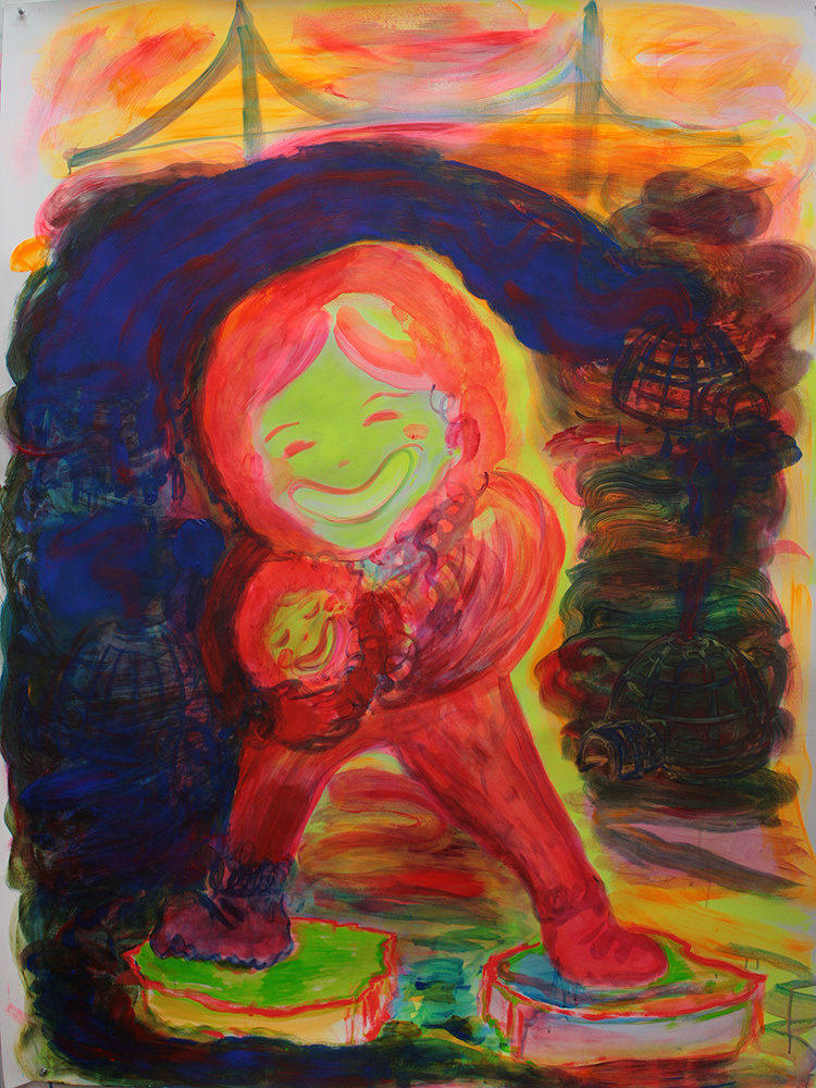 Branden Koch carrier : a power figure  acrylic/tempera/paper