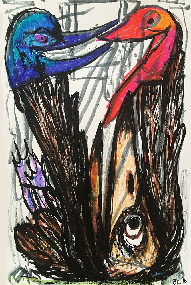 Branden Koch  birds are the nerve endings of the earth  ink, crayon, marker, paper