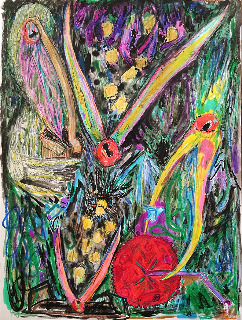 Branden Koch  birds are the nerve endings of the earth  crayon, ink, marker, paper