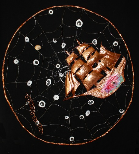 Branden Koch webs and oracles steel, copper, thermal adhesive, snail shell, marshmallow, ink jet print