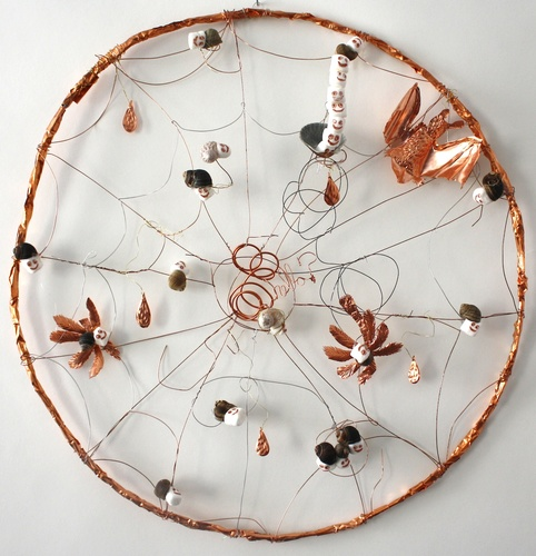 Branden Koch webs and oracles steel, copper, thermal adhesive, snail shell, marshmallow