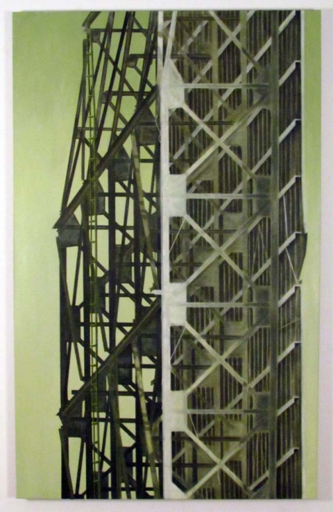Paintings Structure Behind Broken Directive in Muted Beryl Green Either