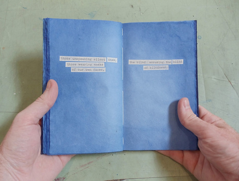 Brian Hitselberger Books Hand dyed mulberry paper with collaged text